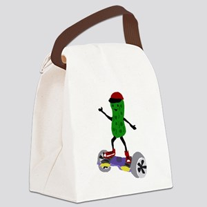 Pickle on Motorized Skateboard Canvas Lunch Bag