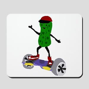 Pickle on Motorized Skateboard Mousepad