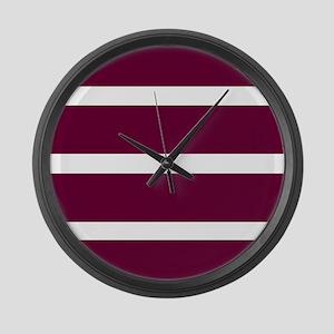 Bold Burgundy Stripe Large Wall Clock