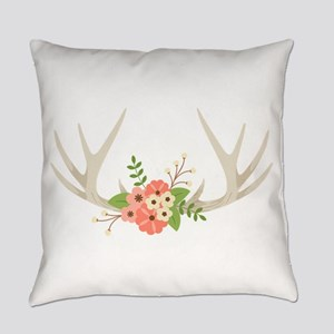 Deer Antler Flowers Everyday Pillow