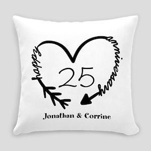 Custom Anniversary Doodle Heart Everyday Pillow