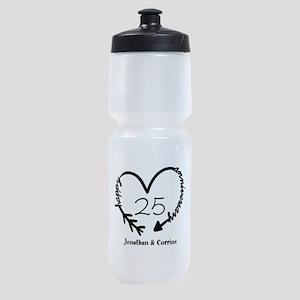 Custom Anniversary Doodle Heart Sports Bottle