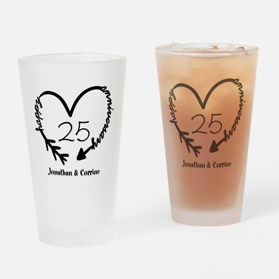 Custom Anniversary Doodle Heart Drinking Glass