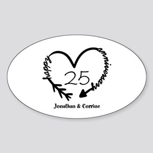 Custom Anniversary Doodle Heart Sticker (Oval)
