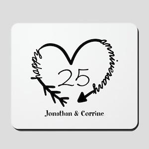 Custom Anniversary Doodle Heart Mousepad