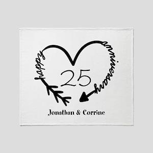Custom Anniversary Doodle Heart Throw Blanket