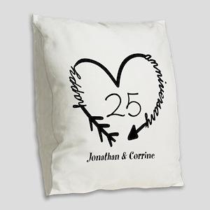 Custom Anniversary Doodle Hear Burlap Throw Pillow