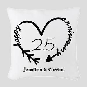 Custom Anniversary Doodle Hear Woven Throw Pillow