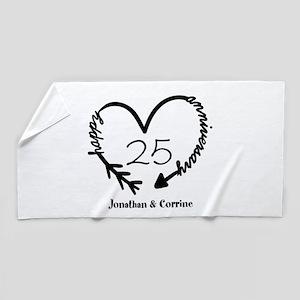 Custom Anniversary Doodle Heart Beach Towel