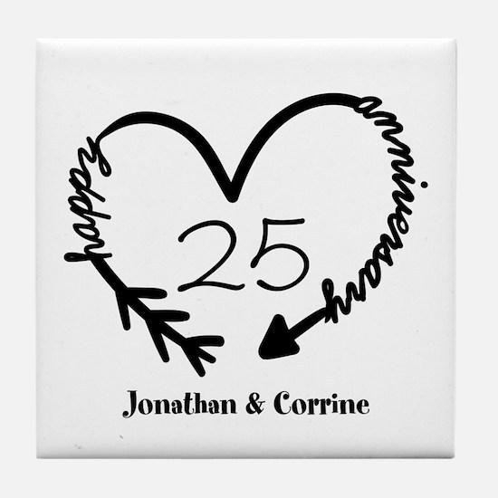 Custom Anniversary Doodle Heart Tile Coaster