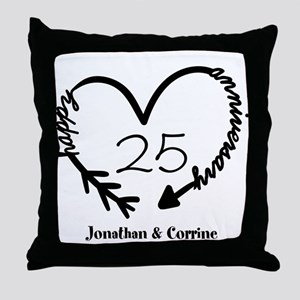 Custom Anniversary Doodle Heart Throw Pillow