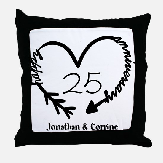 Custom Anniversary Doodle Heart Throw Pillow