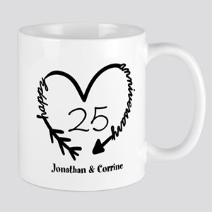 Custom Anniversary Doodle Heart Mug