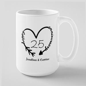 Custom Anniversary Doodle Heart Large Mug