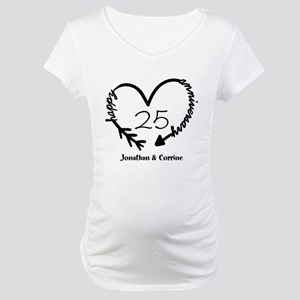 Custom Anniversary Doodle Heart Maternity T-Shirt