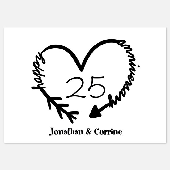 Custom Anniversary Doodle Heart 5x7 Flat Cards
