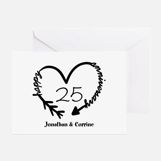 Custom Anniversary Doodle Heart Greeting Card