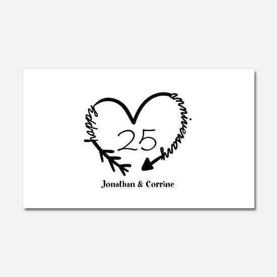 Custom Anniversary Doodle Heart Car Magnet 20 x 12