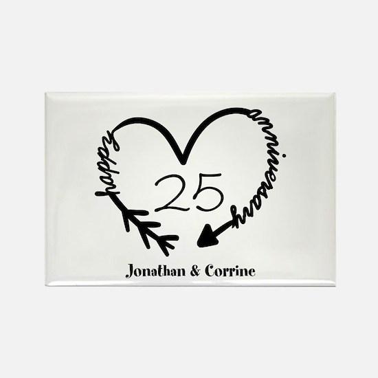 Custom Anniversary Doodle Heart Rectangle Magnet