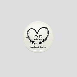 Custom Anniversary Doodle Heart Mini Button