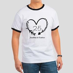 Custom Anniversary Doodle Heart Ringer T