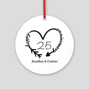Custom Anniversary Doodle Heart Round Ornament