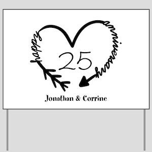 Custom Anniversary Doodle Heart Yard Sign