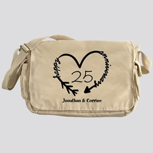 Custom Anniversary Doodle Heart Messenger Bag