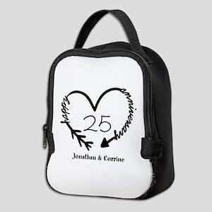 Custom Anniversary Doodle Heart Neoprene Lunch Bag