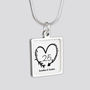 Custom Anniversary Doodle Silver Square Necklace