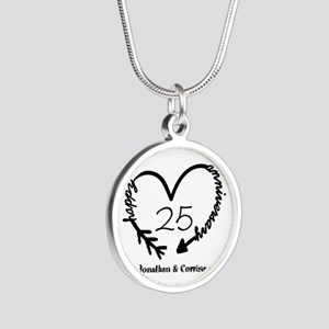Custom Anniversary Doodle He Silver Round Necklace