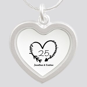 Custom Anniversary Doodle He Silver Heart Necklace