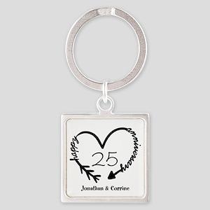 Custom Anniversary Doodle Heart Square Keychain
