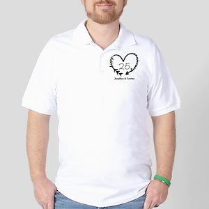Custom Anniversary Doodle Heart Golf Shirt