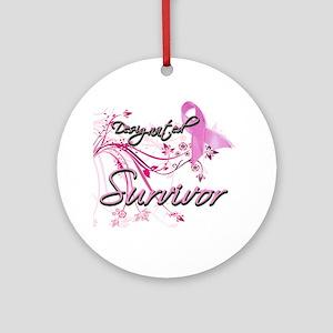 Pink Ribbon Survivor Ornament (Round)