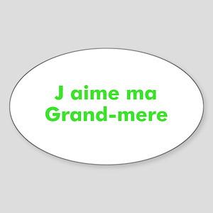 J aime ma Grand-mere Oval Sticker