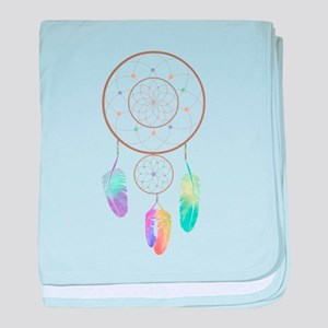 Watercolor Boho Rainbow Dreamcatcher Art baby blan