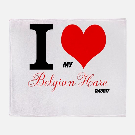 I heart my Belgian Hare Throw Blanket