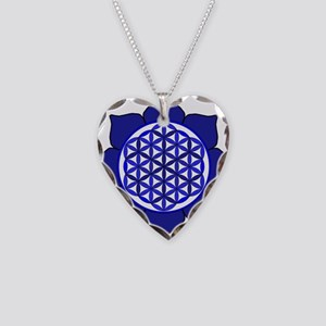 Lotus Blue6 Necklace Heart Charm