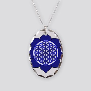 Lotus Blue6 Necklace Oval Charm