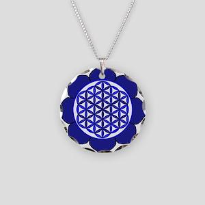 Lotus Blue6 Necklace Circle Charm