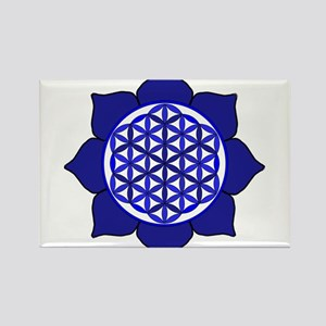 Lotus Blue6 Rectangle Magnet