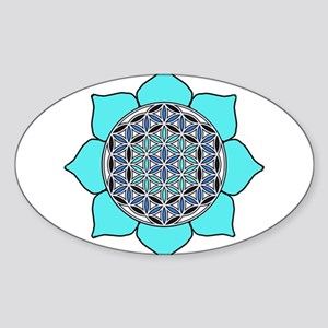 Lotus Blue2 Sticker (Oval)