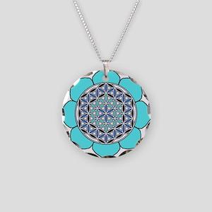 Lotus Blue2 Necklace Circle Charm