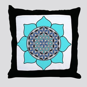 Lotus Blue2 Throw Pillow