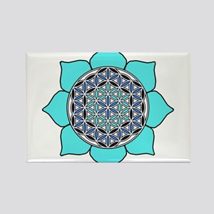 Lotus Blue2 Rectangle Magnet