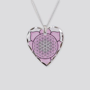 Lotus Pink Necklace Heart Charm