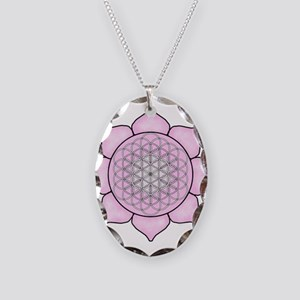 Lotus Pink Necklace Oval Charm