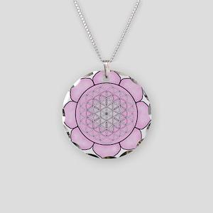 Lotus Pink Necklace Circle Charm