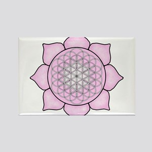 Lotus Pink Rectangle Magnet